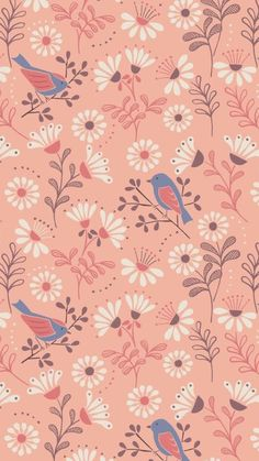 Lewis and irene - a little bird told me - a little bird told Flower Wallpaper, Screen Wallpaper, Pattern Wallpaper, Wallpaper Backgrounds, Iphone Wallpaper, Surface Pattern Design, Pattern Art, Print Patterns, Impression Textile