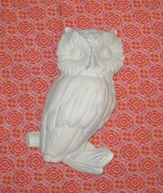 Owl Figurine / Ceramic Wall Hanging  Vintage / by FayElementals, $9.00