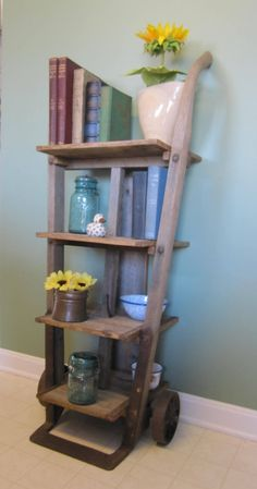 Antique furniture dolly repurposed into shelf