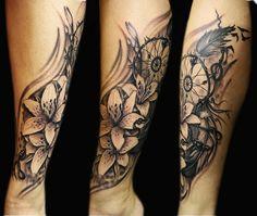 Lilies And Dream Catcher Tattoo Realistic Black Grey Steli