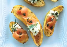 Cumin-Roasted Potatoes with Caviar and Smoked Salmon - Bon Appétit Substitute with Sunburst Cold Smoked and our Smoked Caviar.