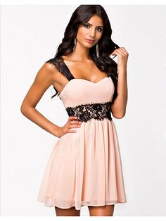 Pink Strapless Color-block Sleeveless Lace Sexy Dress