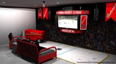 """The """"Man Cave"""". Besides a garage it is the one feature about a house that men get excited about during home searches. Boy Sports Bedroom, Hockey Bedroom, Teen Boy Rooms, Basketball Bedroom, Kids Rooms, Hockey Man Cave, Sports Man Cave, Best Man Caves, Hockey Decor"""