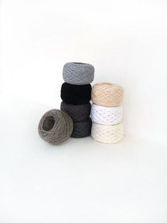 Linen Yarn collection in Black White and Grey via Etsy