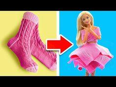 DIY Ropa para Barbie con Calcetines Viejos #2 - YouTube Barbie Et Ken, Barbie Mode, Barbie Dolls Diy, Barbie Doll House, Barbie Dress, Diy Doll, Baby Dolls, Barbie Stuff, Sewing Barbie Clothes