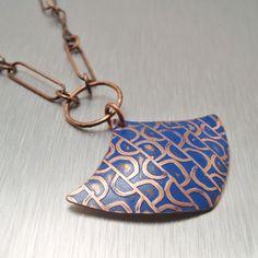 Jewerly Gift  Cobalt Blue Pendulum Handmade Copper Necklace | copperheartdesigns - Jewelry on ArtFire $72