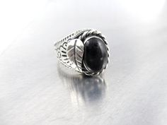 Mens Mexico Sterling Black Onyx Ring, Mexican Biker Ring, Cable Rope Applied Leaf Etched Heavy Chunky Large Onyx Cabochon Jewelry, Size 10