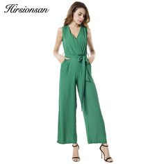 b64fad8b352d Hirsionsan Jumpsuit Summer Sleeveless V-neck Long Overalls Chiffon Rompers  Bow Playsuit