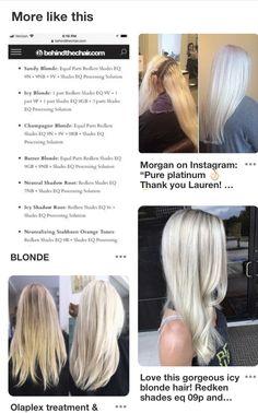 Champagne Blonde Hair, White Blonde Hair, Hair Cutting Techniques, Hair Color Techniques, Redken Hair Color, Hair Color Balayage, White Hair Toner, Redken Hair Products, Hair Color Formulas