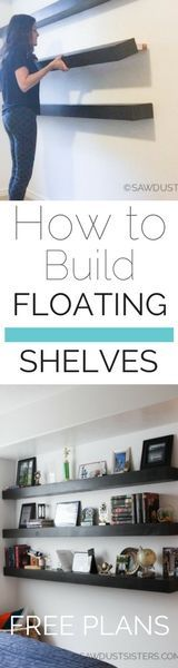 Grab the FREE PLANS to build these awesome floating shelves. So inexpensive to build!