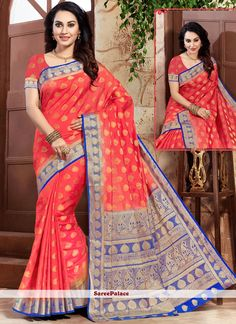 Online shopping for designer saree.Shop this art silk red designer traditional saree. Red Art, Traditional Sarees, Indian Beauty Saree, Exclusive Collection, Sarees Online, Belly Dance, Sari, Feminine, Blouse