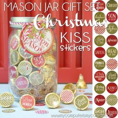 CHRISTMAS NATIVITY Chocolate KISS Mason Jar Gift Set with Tag & Topper, Names of the Savior Printable Kiss Stickers - Instant Download