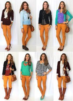 WTW: Mustard Jeans via J's Everyday Fashion: Today's Everyday Fashion: Frugal Jeggings Outfit, Mustard Jeans Outfit, Yellow Pants Outfit, Mustard Yellow Pants, Yellow Jeans, Orange Jeans, Orange Blouse, Pantalon Naranja Outfits, Casual Outfits