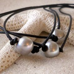 Pearl and Leather Necklace - Silver Gray Pearl and Leather Necklace, Leather and Pearl Necklace - Freshwater Pearl and Leather Necklace