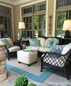Imparting Grace: Front porch update and tips for choosing outdoor fabric - Modern Outdoor Rooms, Outdoor Living, Outdoor Furniture Sets, Outdoor Decor, Outdoor Fabric, Furniture Ideas, Backyard Furniture, Deck Furniture Layout, Furniture Online