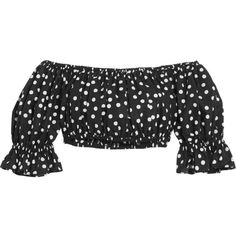 Dolce & Gabbana Off-the-shoulder cropped polka-dot cotton top ($445) ❤ liked on Polyvore featuring tops, dolce & gabbana, crop top, black and white crop top, off shoulder crop top, dot top and black white top