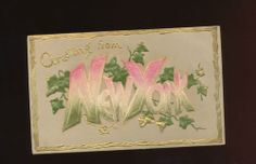 Greetings from NEW YORK Antique c. 1910 Heavy Embossed Postcard-hhh174