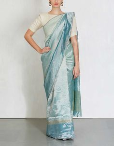 Teal metallic Saree with Blue Border -Anavila- img1