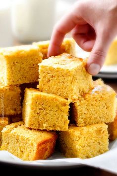the BEST moist, tender homemade Sweet Cornbread with just the right amount of sweetness. You will fall in love at first slice and won't be able to stop!