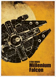 STAR WARS Silhouette Art with Millennium Falcon, X-Wing and AT-AT