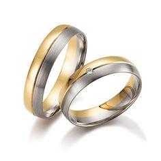 Twee kleuren #trouwringen model 8338,50 5mm. De damesring is bezet met een briljant geslepen diamant. Herenring gratis. € 744.- http://www.trouwringen-herenring-gratis.nl/