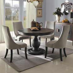 Barrington 3 Piece Dining Set round dining room table and chairs - Home Decor Ideas Round Pedestal Dining Table, Dining Table In Kitchen, Dining Room Chairs, Dining Room Furniture, Dining Tables, Side Chairs, Furniture Decor, Round Dining Room Sets, Modern Furniture