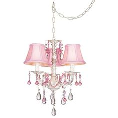 Pink Chandelier: Pretty in Pink Swag Style Plug-In Mini Chandelier Chandelier Lamp Shades, Modern Chandelier, White Chandelier, Pink Lamp, Swag Style, Interiores Design, Girl Room, Child's Room, Nursery Room
