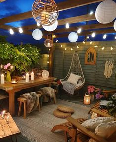 String Lights Outdoor Porch - New ideas Backyard Patio Designs, Backyard Landscaping, Outdoor Spaces, Outdoor Living, Outdoor Decor, Indoor Outdoor Rugs, String Lights Outdoor, String Lanterns, Small Patio