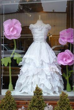 Tissue paper wedding dress by Emily's Garden #paperdress