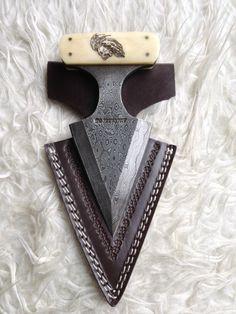 Damascus Steel handmade push knife, PRIDE on Etsy