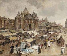 Frans Langeveld - The Waag on the Nieuwmarkt, Amsterdam; Medium: oil on canvas