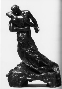 Camille Claudel - The Waltz (1891-1893) Originally, Claudel made this sculpture of two people in an intimate hug without draping. However, this would not be accepted in the 19th century artworld, because of the fact that women had to be chaste and humble. Therefore, she had to add the drapings, allong with the theme of the dance.