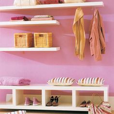 Floating shelves in bedroom with baskets on them, can I just put floating shelves everywhere- I love them!