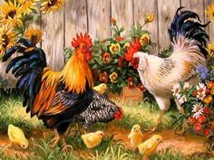 Cheap painting cross stitch, Buy Quality diamond painting cross stitch directly from China diamond painting Suppliers: Diamond painting Cross stitch Diy Diamond embroidery Chickens in garden square drill Diamond mosaic pasted Needlework zx Rooster Painting, Rooster Art, Diy Painting, Pattern Painting, Family Painting, Garden Painting, China Painting, Painting Canvas, Acrylic Paintings