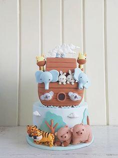 New birthday food ideas for kids boys 64 ideas Baby Boy Birthday Cake, Baby Boy Cakes, First Birthday Cakes, Cakes For Boys, Gateau Baby Shower, Baby Shower Cakes, Baby Boy Shower, Noahs Ark Cake, Noahs Ark Party