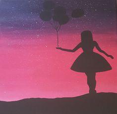 FOR SALE!!! Purple Starry Sky/Balloon Girl Silhouette by RVBDesignsArt