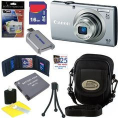 Canon PowerShot A2300 IS 16.0 MP Digital Camera in Silver + 16GB Memory Card + USB Memory Card Reader + Replacement NB-11L Lithium-Ion Battery + Digital Camera Case + Accessory Kit by Canon. $109.95. Simple and stylish, this chic compact camera is packed with advancements that make it easy to get a great shot every time. Smart AUTO recognizes 32 predefined shooting situations, then automatically picks the proper camera settings for you. Saving memories in breathtakin...