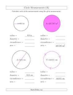 Circumference of a circle worksheets calculate circumference and calculate all circle measurements a ccuart Gallery