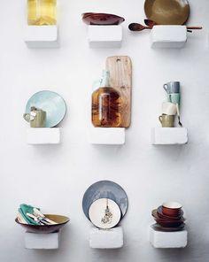 shelf, dishes