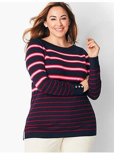Shop Talbots for modern classic women's styles. You'll be a standout in our Plus Size Striped Sweater - only at Talbots! Plus Size Clothing Online, Plus Size Womens Clothing, Clothes For Women, Trendy Plus Size Dresses, Plus Size Outfits, Plus Size Fashion For Women, Latest Fashion For Women, Plus Size Sweaters, Sweaters For Women