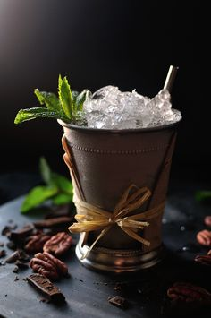 Derby Pie Julep (with pecan-cocoa nib syrup) | 10th Kitchen
