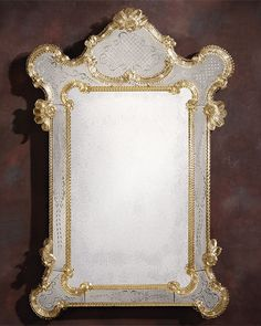 Venetian mirror framed in hand-etched antiqued glass with gold highlights, trimmed with glass ribbons and rosettes; Venetian Glass Mirror, Mirror Image, Ornate, Etched Designs, Glass, Venetian Mirrors, Mirror, Venetian Glass, Venetian