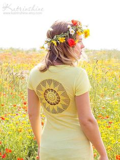 Bright yellow t-shirt with upcycled vintage crochet doily back
