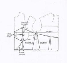 La tecnica dei modelli uomo donna volume 2 - Pat Tutorial and Ideas Corset Sewing Pattern, Dress Sewing Patterns, Clothing Patterns, Fabric Sewing, Skirt Patterns, Blouse Patterns, Pattern Draping, Bodice Pattern, Bra Pattern