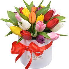 """Цветы в коробке """"25 ярких тюльпанов"""" – быстрая доставка"""