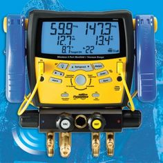 "#Fieldpiece SMAN460 4 Port Wireless Digital #Manifold/Refrigeration System  Analyzer  with Micron Gauge. The SMAN460 features a large 3/8"" port for faster evacuations and recovery. The  SNAN460 allow the user to evacuate a system, pull a vacuum, add  refrigerant and dial in the charge simultaneously. Now on Sale!"