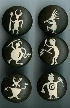 Handpainted Petroglyph Rock Art Cabinet Knobs U by KnobbyGal, via Etsy.