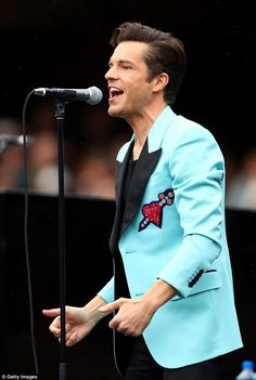 Rock icon: Frontman Brandon Flowers channeled Elvis Presley with a style quiff and a powder blue suit jacket Blue Suit Jacket, Brandon Flowers, Groom Attire, Groom Suits, Groom Style, Perfect Man, Nice Dresses, Hot Guys, Wedding Centerpieces