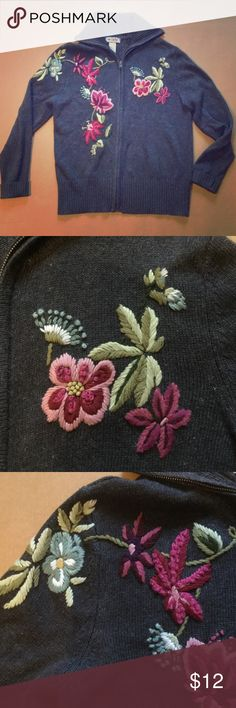 Vintage Zippered Sweater His sweater has detailed flowers embroiled on it. It is in good condition p. It is size small. Tiara Jackets & Coats