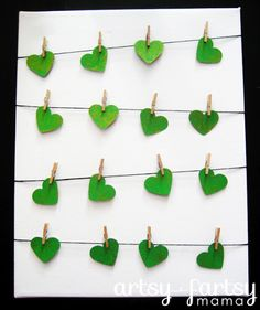 St Patrick's Day Heart Clothesline
